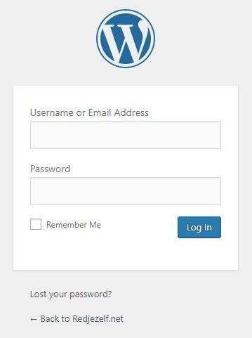 standaard login pagina Wordpress