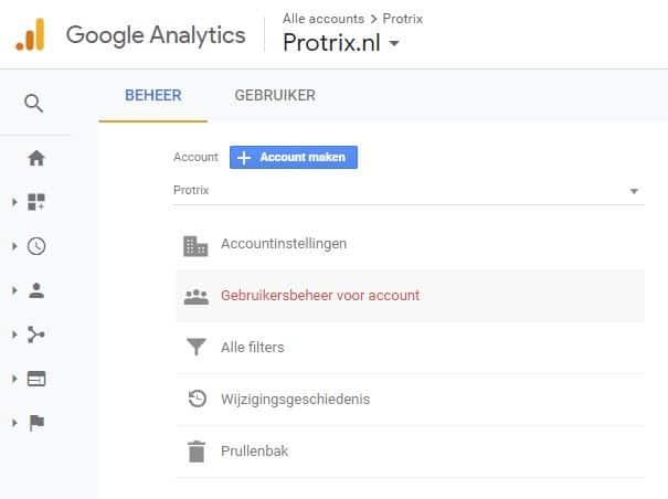 gebruiker Google Analytics account toevoegen