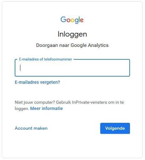 loginscherm Google Analytics